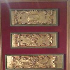 Arte: PLAFON CON CINCO REMATES DORADOS SIGLO XVIII , 85 CM X 50 CM. Lote 173401443