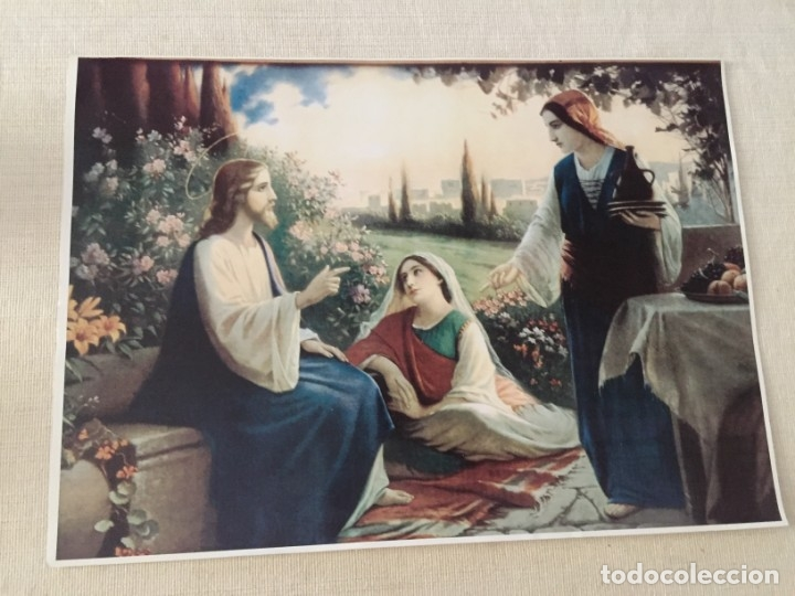 ESTAMPA ILUSTRACION JESUS JESUCRISTO CRISTO CON MARTA Y MARIA MAGDALENA EN CASA DE LAZARO 40,5 X 29 (Arte - Arte Religioso - Pintura Religiosa - Otros)