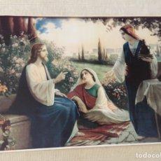 Arte: ESTAMPA ILUSTRACION JESUS JESUCRISTO CRISTO CON MARTA Y MARIA MAGDALENA EN CASA DE LAZARO 40,5 X 29. Lote 210276682