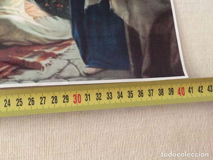 Arte: ESTAMPA ILUSTRACION JESUS JESUCRISTO CRISTO CON MARTA Y MARIA MAGDALENA EN CASA DE LAZARO 40,5 X 29 - Foto 2 - 210276682