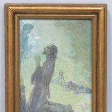 Arte: AGONIA DE JESUS EN EL HUERTO DE GETSEMANI. TECNICA MIXTA SOBRE CARTON ENTELADO. CESAREO VILLAR. 1941. Lote 173458658