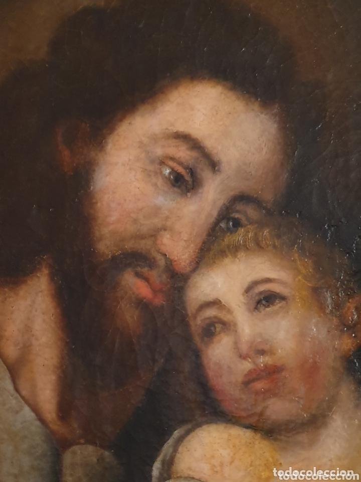Arte: GRAN OLEO SOBRE LIENZO ALTURA 116CM SAN JOSE CON EL NIÑO JESUS S.XVIII - Foto 2 - 161740108