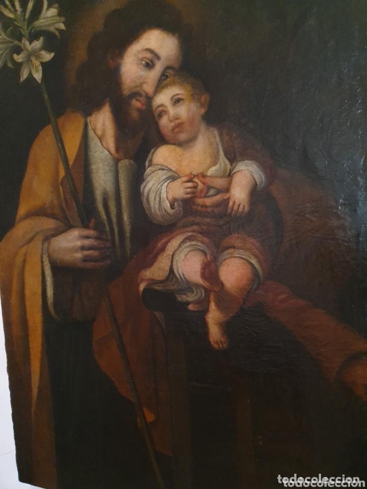 Arte: GRAN OLEO SOBRE LIENZO ALTURA 116CM SAN JOSE CON EL NIÑO JESUS S.XVIII - Foto 5 - 161740108