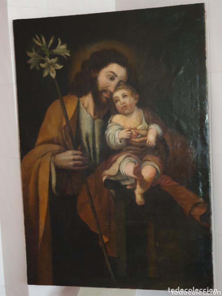 Arte: GRAN OLEO SOBRE LIENZO ALTURA 116CM SAN JOSE CON EL NIÑO JESUS S.XVIII - Foto 7 - 161740108