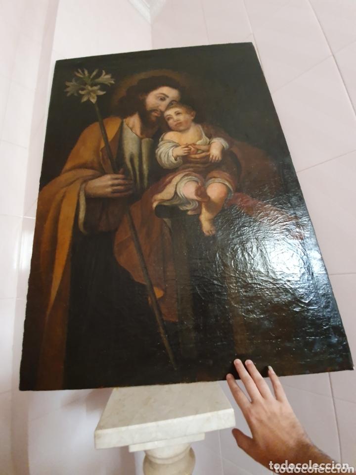Arte: GRAN OLEO SOBRE LIENZO ALTURA 116CM SAN JOSE CON EL NIÑO JESUS S.XVIII - Foto 8 - 161740108