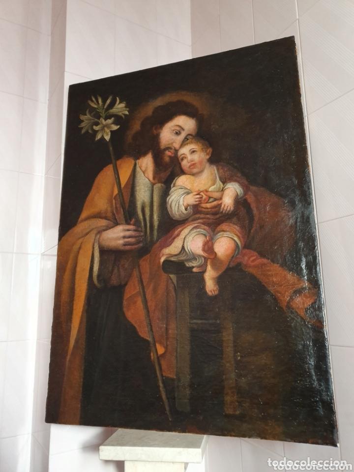 GRAN OLEO SOBRE LIENZO ALTURA 116CM SAN JOSE CON EL NIÑO JESUS S.XVIII (Arte - Arte Religioso - Pintura Religiosa - Oleo)