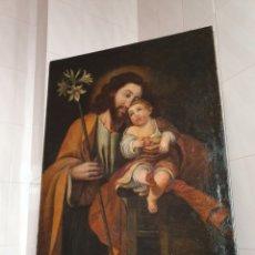 Arte: OLEO DE GRAN TAMAÑO SOBRE LIENZO SAN JOSE CON EL NIÑO JESUS S.XVIII-XIX. Lote 161740108