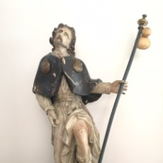 Arte: TALLA ANTIGUA DE MADERA - SANTO SAN ROQUE - SIGLO XVII - XVIII. Lote 158137833