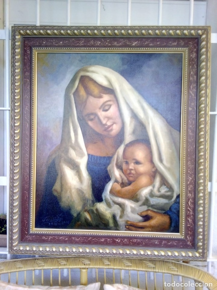 VIRGEN CON EL NIÑO JESÚS. JOLOGA. LIENZO 65X54. MARCO INCLUIDO. (Arte - Arte Religioso - Pintura Religiosa - Oleo)