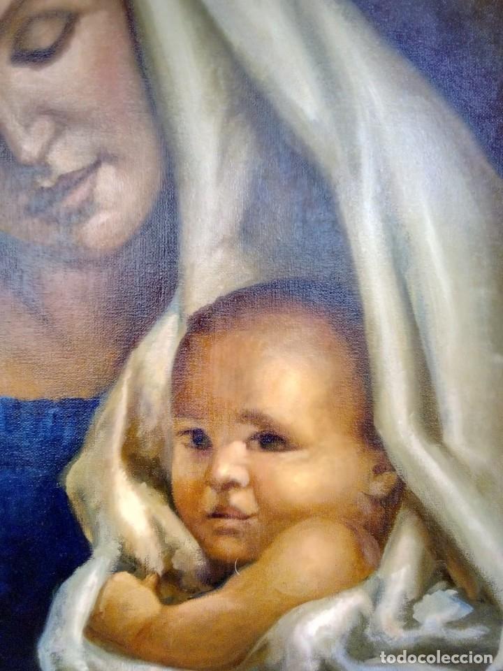 Arte: VIRGEN CON EL NIÑO JESÚS. JOLOGA. LIENZO 65X54. MARCO INCLUIDO. - Foto 2 - 173559258