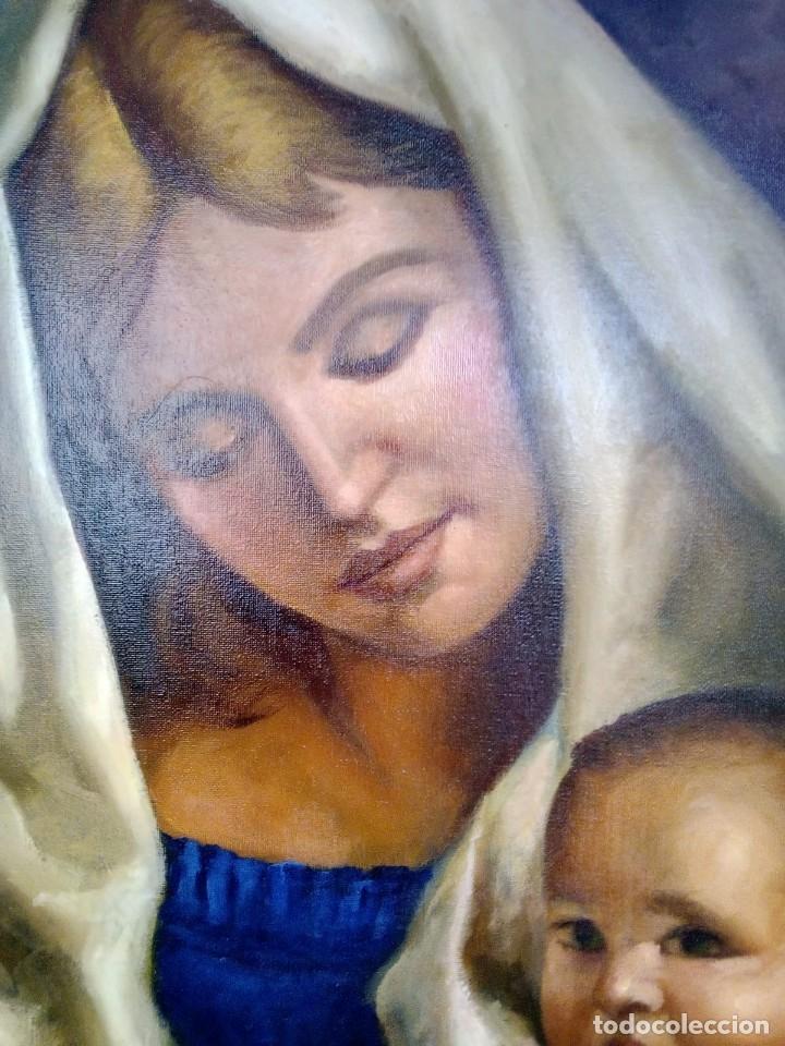 Arte: VIRGEN CON EL NIÑO JESÚS. JOLOGA. LIENZO 65X54. MARCO INCLUIDO. - Foto 3 - 173559258