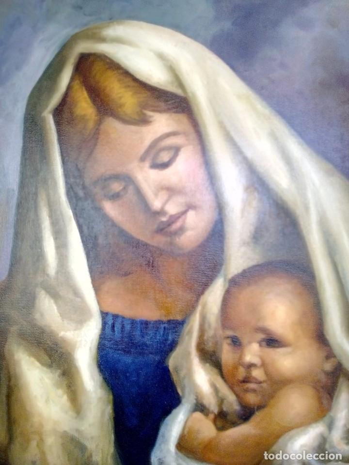 Arte: VIRGEN CON EL NIÑO JESÚS. JOLOGA. LIENZO 65X54. MARCO INCLUIDO. - Foto 7 - 173559258