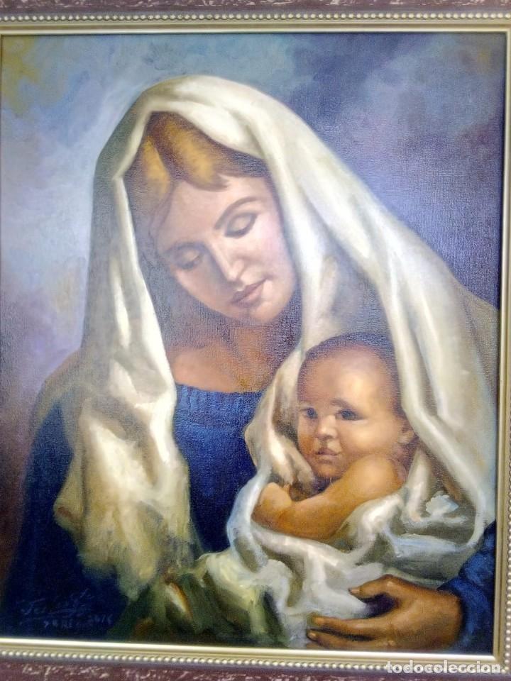 Arte: VIRGEN CON EL NIÑO JESÚS. JOLOGA. LIENZO 65X54. MARCO INCLUIDO. - Foto 8 - 173559258