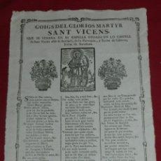 Arte: (M) GOZA - GOIGS MARTYR SANT VICENS VENERA CAPELLA CASTELL SANT VICENS ALIÁS DE BURRIACH, CABRERA. Lote 173574167