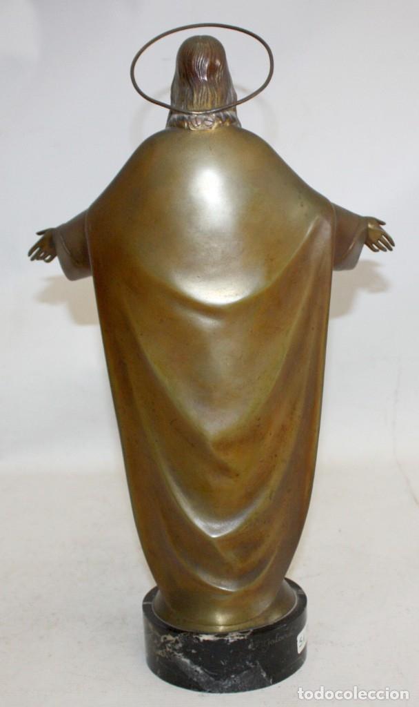 Arte: FREDERIC GALCERÀ ALABART (Barcelona, 1880 - 1964) SAGRADO CORAZÓN EN BRONCE DE APROXIMADAMENTE 1920 - Foto 4 - 173577343