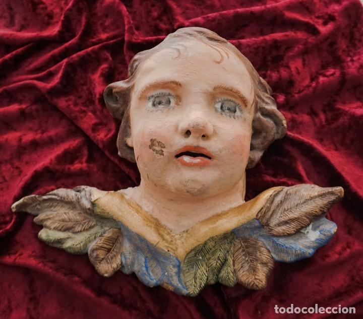 CABEZA DE ÁNGEL DE MADERA SIGLO XVIII (Arte - Arte Religioso - Escultura)