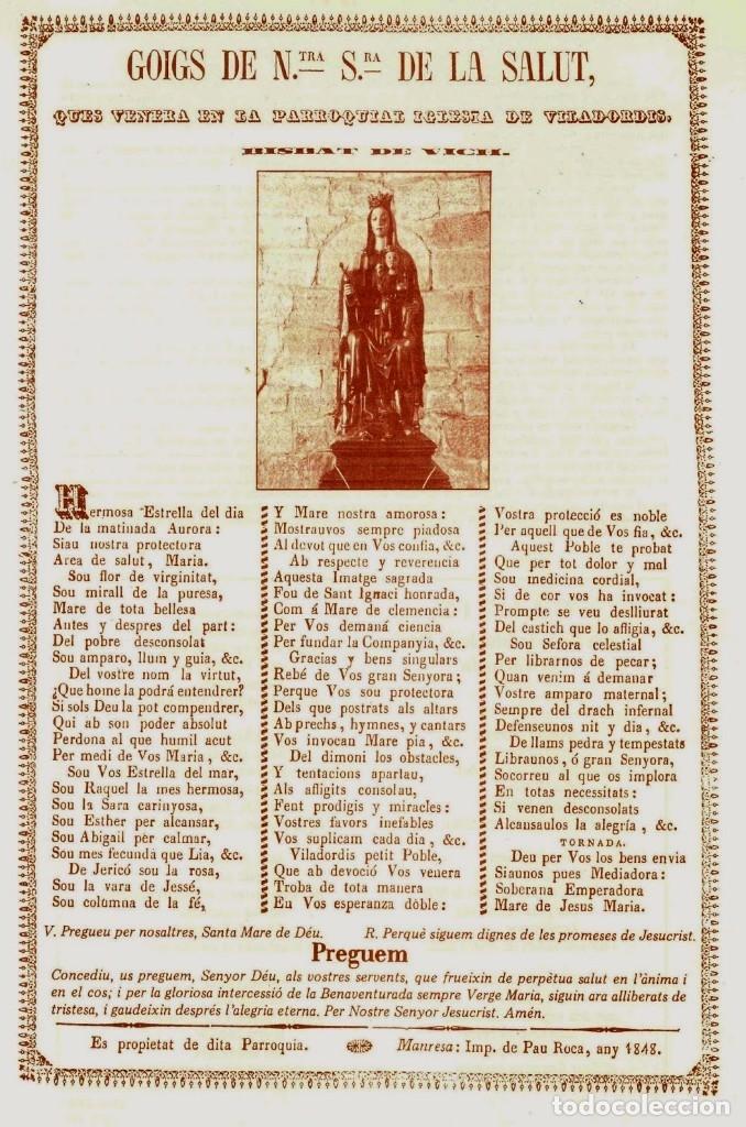 GOIGS DE NTRA SRA DE LA SALUT 1848 (Arte - Arte Religioso - Grabados)