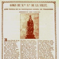 Arte: GOIGS DE NTRA SRA DE LA SALUT 1848. Lote 173670074