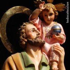 Arte: MAJESTUOSO SAN CRISTOBAL PARA ALTAR O PROCESION GRANDES MEDIDAS PASTA DE MADERA. Lote 150043658