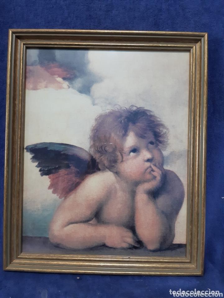 LÁMINA ANTIGUA DE ÁNGEL ENMARCADA (Arte - Arte Religioso - Iconos)