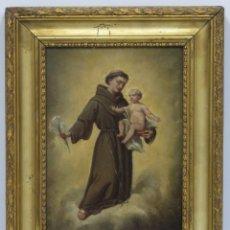 Arte: PRECIOSO SAN ANTONIO CON EL NIÑO JESUS. OLEO S/ TABLA. ESCUELA ESPAÑOLA. SIGLO XIX. Lote 173816880
