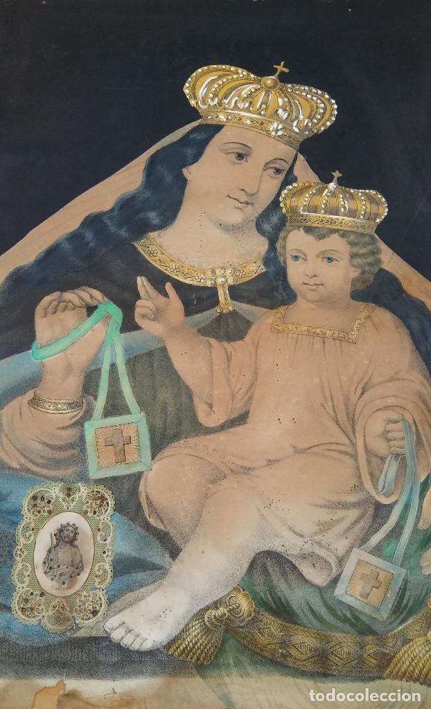 ANTIGUO CUADRO DE LA VIRGEN CON ESCAPULARIO, PINTADO A MANO Y DORADO CON ORO. ECCE HOMO.77 X 62 CM (Arte - Arte Religioso - Pintura Religiosa - Otros)