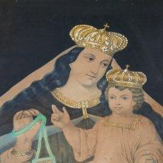 Arte: ANTIGUO CUADRO DE LA VIRGEN CON ESCAPULARIO, PINTADO A MANO Y DORADO CON ORO. ECCE HOMO.77 X 62 CM. Lote 173853308