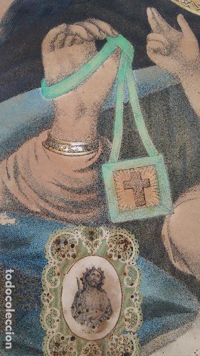 Arte: ANTIGUO CUADRO DE LA VIRGEN CON ESCAPULARIO, PINTADO A MANO Y DORADO CON ORO. ECCE HOMO.77 X 62 CM - Foto 5 - 173853308