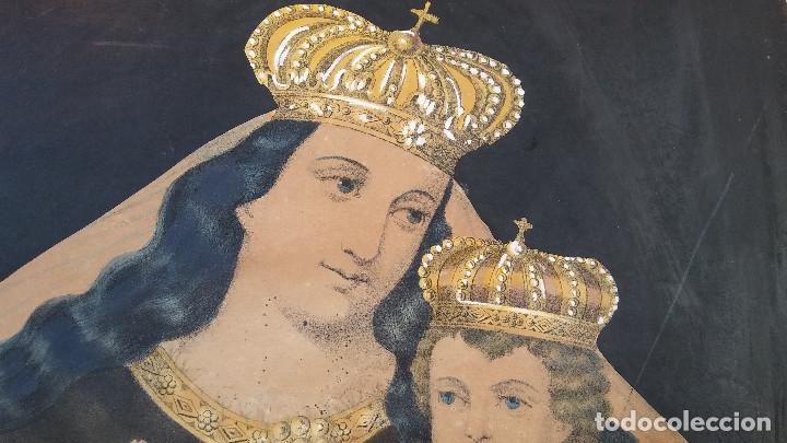 Arte: ANTIGUO CUADRO DE LA VIRGEN CON ESCAPULARIO, PINTADO A MANO Y DORADO CON ORO. ECCE HOMO.77 X 62 CM - Foto 4 - 173853308