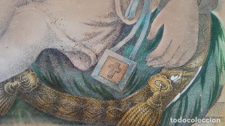 Arte: ANTIGUO CUADRO DE LA VIRGEN CON ESCAPULARIO, PINTADO A MANO Y DORADO CON ORO. ECCE HOMO.77 X 62 CM - Foto 6 - 173853308
