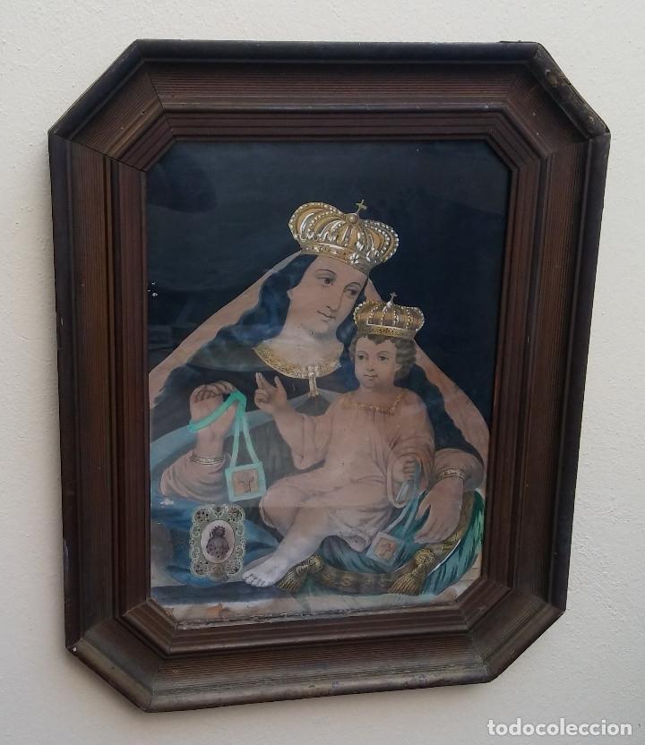 Arte: ANTIGUO CUADRO DE LA VIRGEN CON ESCAPULARIO, PINTADO A MANO Y DORADO CON ORO. ECCE HOMO.77 X 62 CM - Foto 3 - 173853308