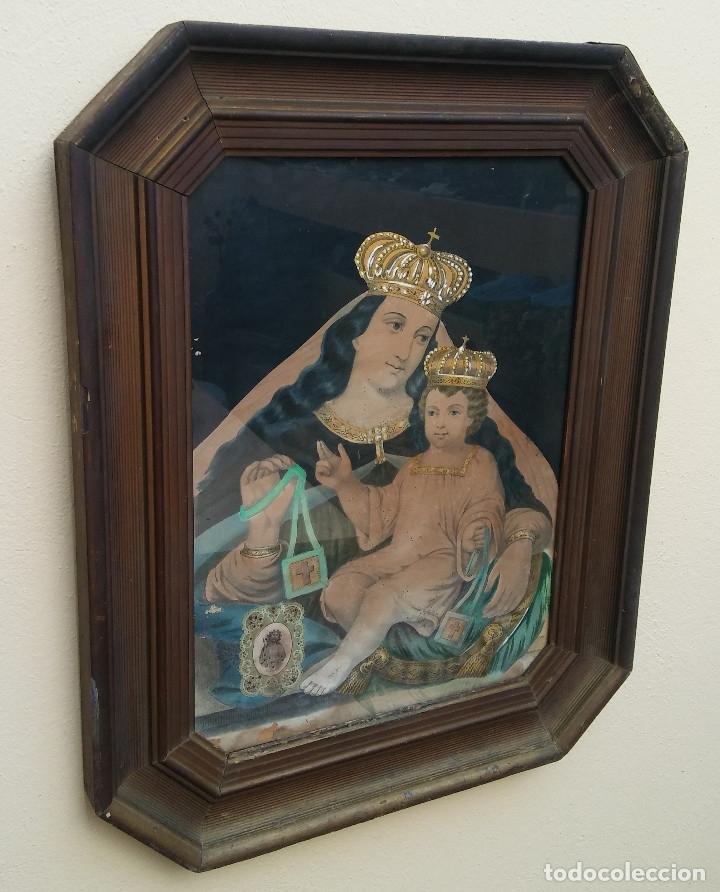 Arte: ANTIGUO CUADRO DE LA VIRGEN CON ESCAPULARIO, PINTADO A MANO Y DORADO CON ORO. ECCE HOMO.77 X 62 CM - Foto 2 - 173853308