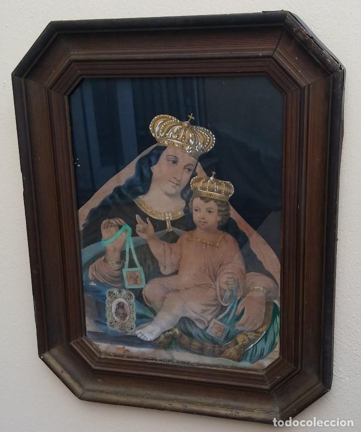 Arte: ANTIGUO CUADRO DE LA VIRGEN CON ESCAPULARIO, PINTADO A MANO Y DORADO CON ORO. ECCE HOMO.77 X 62 CM - Foto 7 - 173853308