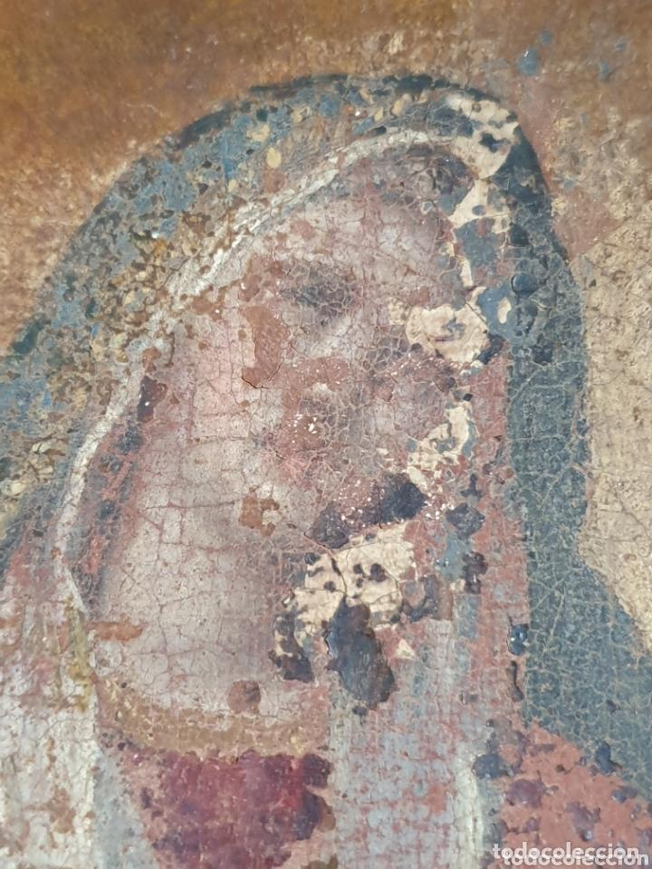 Arte: CUADRO RELIGIOSO VIRGEN PINTADA AL OLEO SOBRE LIENZO S.XVIII-XIX - Foto 2 - 155626340