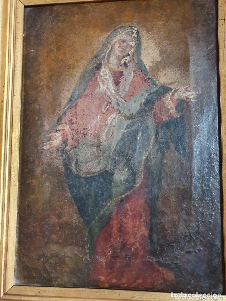 Arte: CUADRO RELIGIOSO VIRGEN PINTADA AL OLEO SOBRE LIENZO S.XVIII-XIX - Foto 4 - 155626340