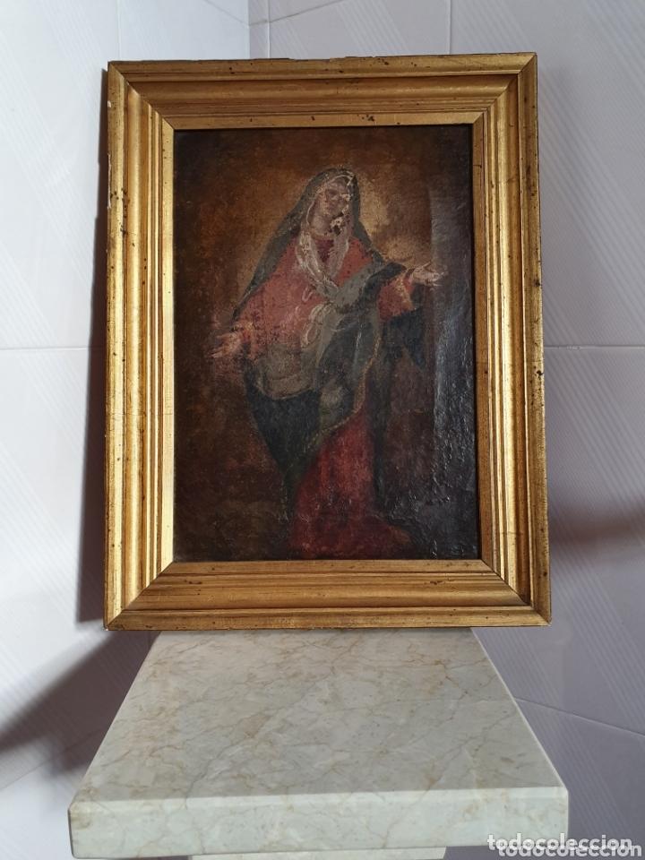 CUADRO RELIGIOSO VIRGEN PINTADA AL OLEO SOBRE LIENZO S.XVIII-XIX (Arte - Arte Religioso - Pintura Religiosa - Oleo)