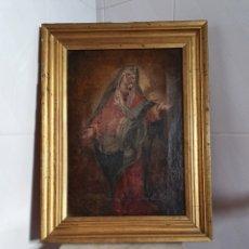 Arte: CUADRO RELIGIOSO VIRGEN PINTADA AL OLEO SOBRE LIENZO S.XVIII-XIX. Lote 155626340