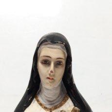 Arte: IMAGEN SANTA TERESA EN ESTUCO POLICROMADO 19X 15 CM. Lote 173924678