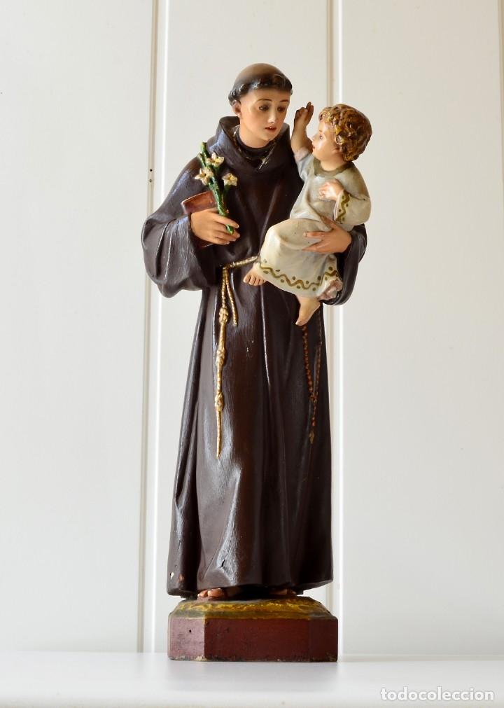 PRECIOSO SAN ANTONIO CON EL NIÑO EN BRAZOS ARTE DE OLOT (Arte - Arte Religioso - Escultura)