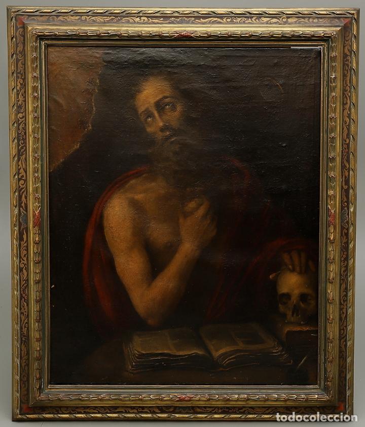 Arte: EXCEPCIONAL SAN JERONIMO. ESCUELA ESPAÑOLA S. XVII. A ESTUDIAR - Foto 2 - 174156139