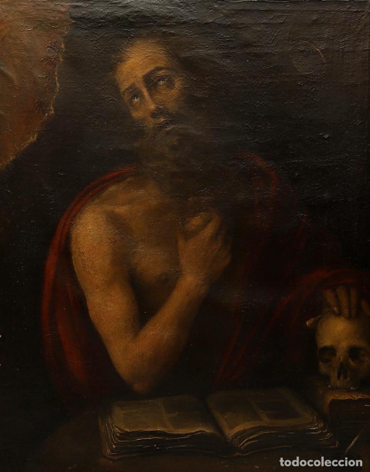 EXCEPCIONAL SAN JERONIMO. ESCUELA ESPAÑOLA S. XVII. A ESTUDIAR (Arte - Arte Religioso - Pintura Religiosa - Oleo)