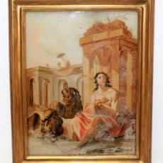 Arte: ÓLEO SOBRE CRISTAL - POSIBLE ESCENA DEL EVANGELISTA SAN MARCOS CON LEONES - SIGLO XIX. Lote 174241689