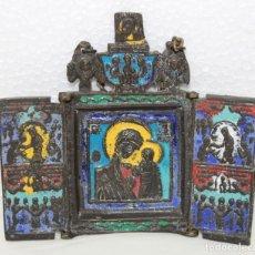 Arte: TRÍPTICO RELIGIOSO EN BRONCE ESMALTADO AL FUEGO CON MOTIVO CENTRAL DE LA VIRGEN - SIGLO XIX. Lote 174250128