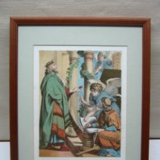 Arte: PRECIOSA CROMO-LITOGRAFIA ANTIGUA - LA PETICION DE DAVID - ENMARCADO. Lote 174256559