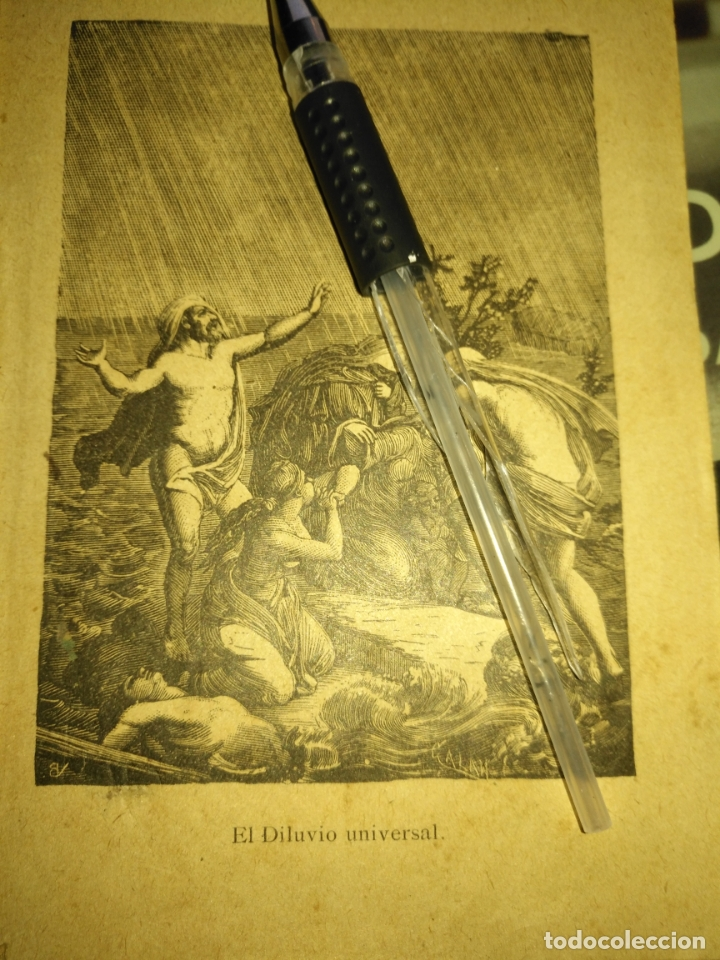 1881 ANTIGUO GRABADO MINIATURA RELIGIOSO - EL DILUVIO UNIVERSAL (Arte - Arte Religioso - Grabados)