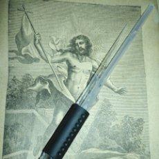 Arte: 1881 ANTIGUO GRABADO MINIATURA RELIGIOSO - CRISTO RESUCITADO - LA RESURRECCION DE CRISTO. Lote 174266660