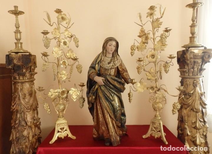 Arte: Santa Ana. Escultura del siglo XVII en madera tallada, estofada y dorada. Mide 74 cm de altura. - Foto 29 - 174268678