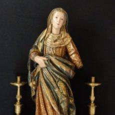 Arte: SANTA ANA. ESCULTURA DEL SIGLO XVII EN MADERA TALLADA, ESTOFADA Y DORADA. MIDE 74 CM DE ALTURA.. Lote 174268678