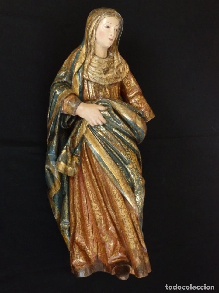 Arte: Santa Ana. Escultura del siglo XVII en madera tallada, estofada y dorada. Mide 74 cm de altura. - Foto 4 - 174268678