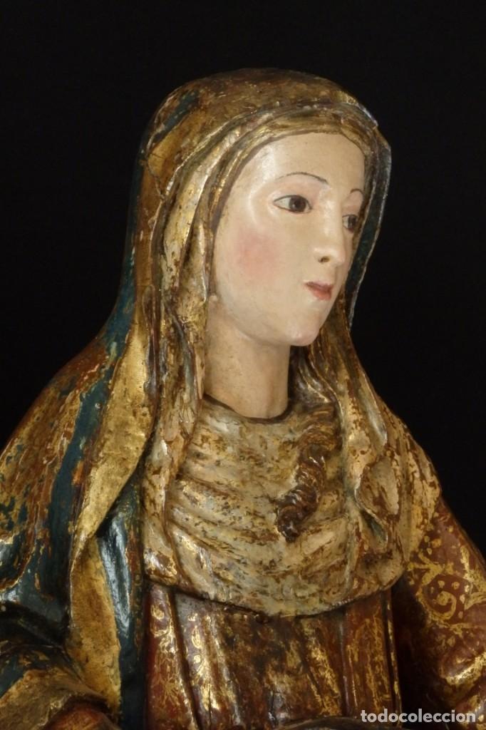 Arte: Santa Ana. Escultura del siglo XVII en madera tallada, estofada y dorada. Mide 74 cm de altura. - Foto 5 - 174268678